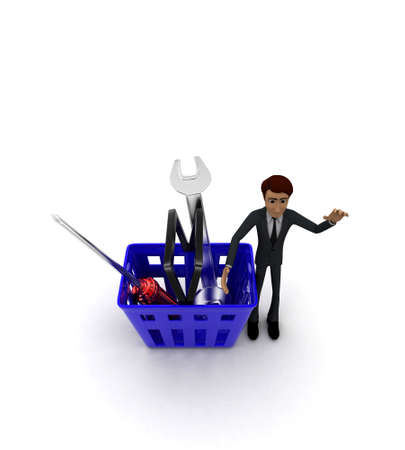 it is full: 3d man with basket full of mechanical tools in it concept on white background - 3d rendering , top angle view Stock Photo