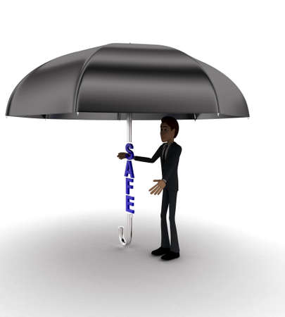 under view: 3d man under umbrella with SALE text concept on white background - 3d rendering , side angle view