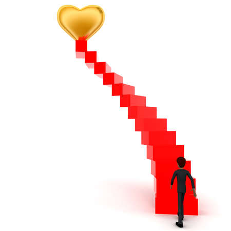 upwards: 3d man walking upwards to  golden heart symbol  with the help of stairs concept in white isolated background , front angle view