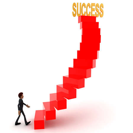 upwards: 3d man walking upwards to success text with the help of stairs concept in white isolated background , side angle view