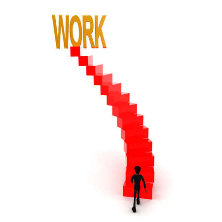 upwards: 3d man walking upwards to work text with the help of stairs concept  in white isolated background , front angle view