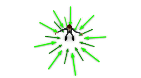 surrounding: 3d man welcoming with open hands and standing in center of surrounding and pointing arrows concept on white background - 3d rendering ,  top angle view