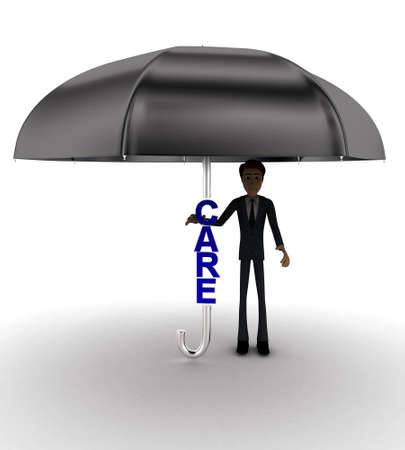 front angle: 3d man under umbrella with CARE text concept on white background - 3d rendering , front angle view Stock Photo