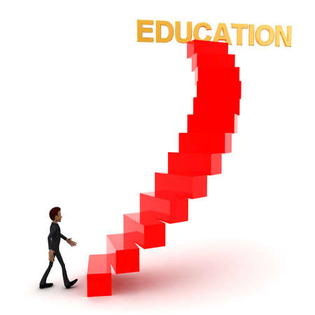 upwards: 3d man walking upwards to education text with the help of stairs concept  in white isolated background , side angle view