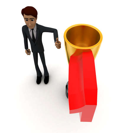 titled: 3d man with number 1 titled   golden cup of winner concept on white background - 3d rendering , top angle view Stock Photo