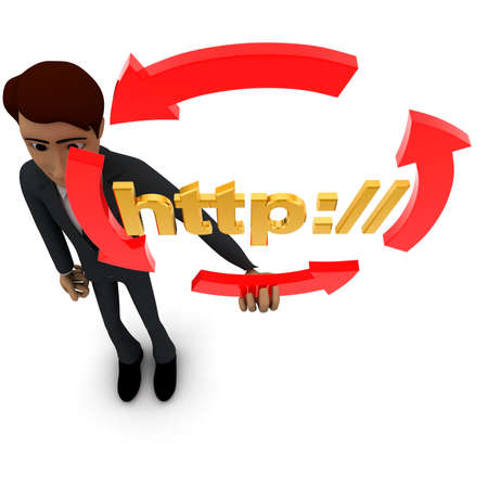 http: 3d man holding four arrows  in circular shape and HTTP text inside it concept on white background - 3d rendering , top angle view