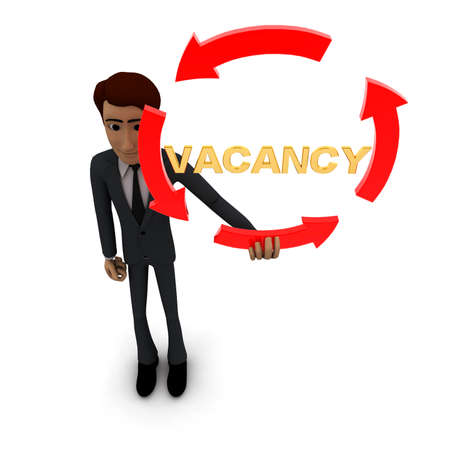 vacancies: 3d man holding four arrows  in circular shape and VACANCY text inside it concept on white background - 3d rendering , top angle view Stock Photo