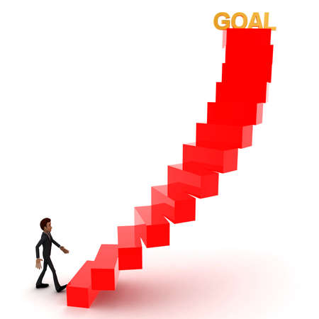 upwards: 3d man walking upwards to  goal text with the help of stairs concept in white isolated background , front angle view