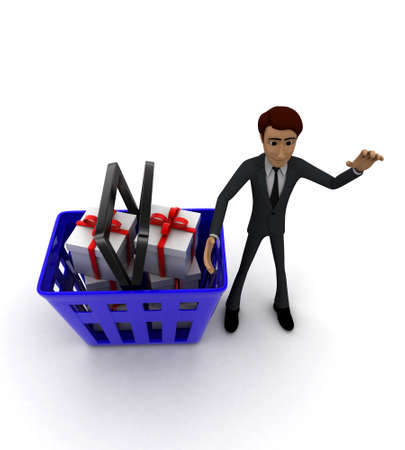 gift basket: 3d man with basket and gift boxes in it concept on white background - 3d rendering , top angle view