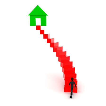 upwards: 3d man walking upwards to homehouse symbol with the help of stairs concept in white isolated background , front angle view