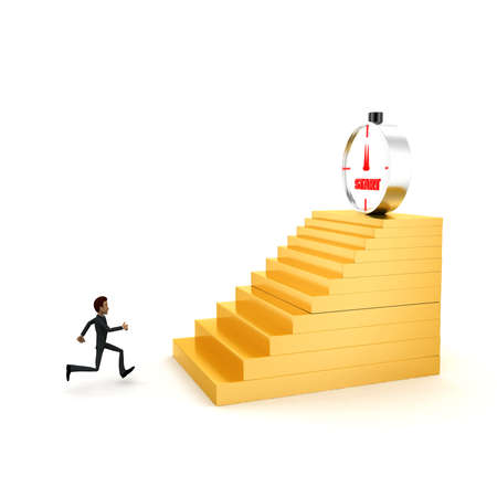 towards: 3d man running towards steps with start timber on top concept on white background - 3d rendering , side angle view