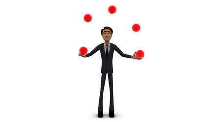 juggling: 3d man juggling with balls concept on white background - 3d rendering , front angle view Stock Photo