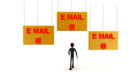 towards: 3d man walking towards email -text mail letter concept on white background - 3d rendering ,  front angle view