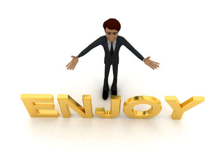 enjoy: 3d man welcome and with ENJOY text concept on white background - 3d rendering , top angle view