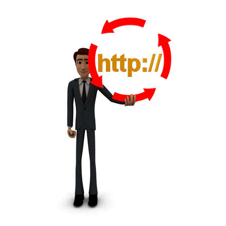 http: 3d man holding four arrows  in circular shape and HTTP text inside it concept on white background - 3d rendering , front angle view