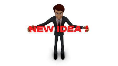 new idea: 3d man holding NEW IDEA text  concept  on white background - 3d rendering ,  top angle view Stock Photo