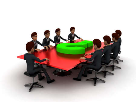 sit around: 3d men sitting around table made of puzzle pieces and question mark on it concept on white background - 3d rendering , side angle view