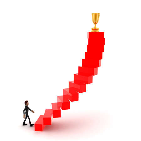 upwards: 3d man walking upwards to  golden trophy  with the help of stairs concept in white isolated background , front angle view