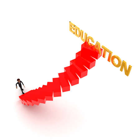 education help: 3d man walking upwards to education text with the help of stairs concept  in white isolated background , top angle view Stock Photo