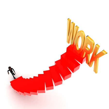 upwards: 3d man walking upwards to work text with the help of stairs concept  in white isolated background , top angle view