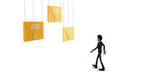 side job: 3d man walking toward to  job email letter concept on white background - 3d rendering , side angle view