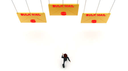 towards: 3d man walking towards bulk -text mail letter concept on white background - 3d rendering ,  top angle view
