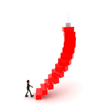 upwards: 3d man walking upwards to  bulb  with the help of stairs concept in white isolated background , side angle view