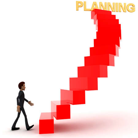 upwards: 3d man walking upwards to planning text with the help of stairs concept in white isolated background , side angle view
