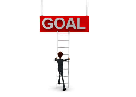 reach: 3d man climb ladder to reach GOAL text  concept on white background - 3d rendering, front angle view