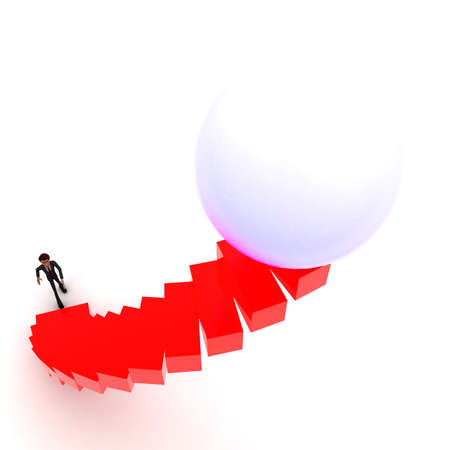 upwards: 3d man walking upwards to sphere with the help of stairs concept  in white isolated background , top angle view