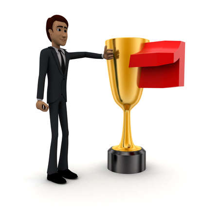 titled: 3d man with number 1 titled   golden cup of winner concept on white background - 3d rendering , side angle view