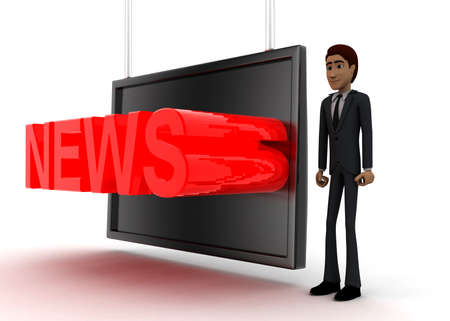 screening: 3d man standing near a  screen and news text displaying on it concept on white background - 3d rendering, side angle view Stock Photo