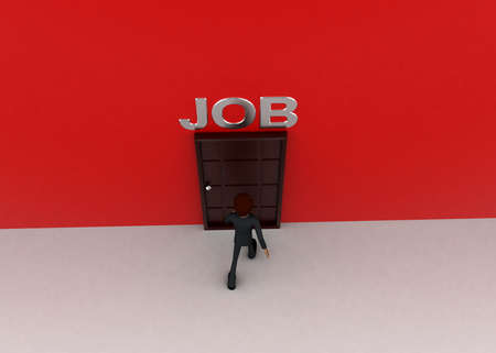 towards: 3d man walking towards door and JOB written on top of it concept on white background - 3d rendering, top angle view