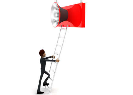 reach: 3d man climb ladder to reach loud speaker concept on white background - 3d rendering,  side angle view