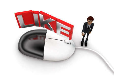 3d mouse: 3d man with computer wired mouse and LIKE text on wire concept on white background - 3d rendering, top angle view