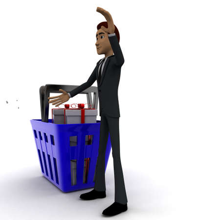 gift basket: 3d man with basket and gift boxes in it concept on white background - 3d rendering , side angle view
