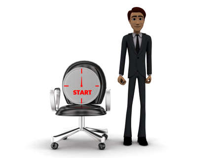 stop watch: 3d man presenting stop watch on moving chair concept on white background - 3d rendering, front angle view Stock Photo