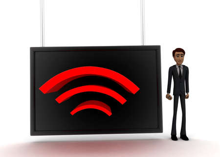 screening: 3d man standing near a  screen and wireless like logo displaying on it concept on white background - 3d rendering, front angle view