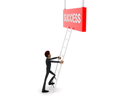 reach: 3d man climb ladder to reach  SUCCESS text concept on white background - 3d rendering, side angle view