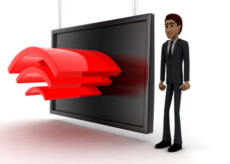 guy standing: 3d man standing near a  screen and wireless like logo displaying on it concept on white background - 3d rendering, side angle view