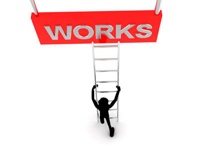 works: 3d man climb ladder to reach  WORKS text concept on white background - 3d rendering, top angle view Stock Photo