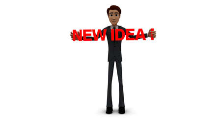new idea: 3d man holding NEW IDEA text  concept  on white background - 3d rendering , front angle view Stock Photo