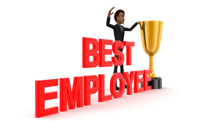 best employee: 3d man with BEST EMPLOYEE and golden cup of winner concept on white background - 3d rendering , side angle view