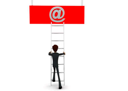 reach: 3d man climb ladder to reach email icon  concept on white background - 3d rendering, front angle view