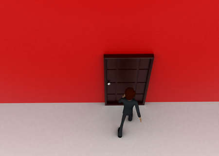 towards: 3d man walking towards door  concept on white background - 3d rendering, top angle view Stock Photo
