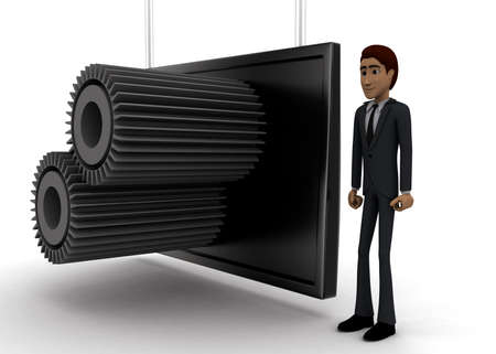 screening: 3d man standing near a  screen and  gears displaying on it concept on white background - 3d rendering, side angle view