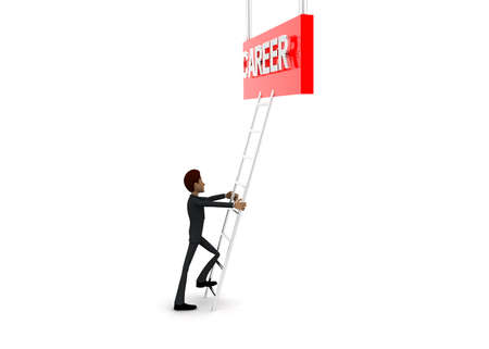 reach: 3d man climb ladder to reach  CAREER text  concept on white background - 3d rendering, side angle view Stock Photo