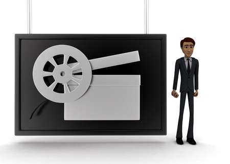 screening: 3d man standing near a  screen and film clap and film reel displaying on it concept on white background - 3d rendering, front angle view