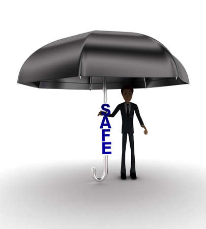 under view: 3d man under umbrella with SALE text concept on white background - 3d rendering , front angle view