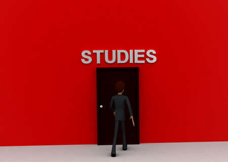 towards: 3d man walking towards door and STUDIES written on top of it concept on white background - 3d rendering, front angle view Stock Photo